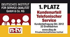 1822direkt Bankentest von Deutsches Institut für Service-Qualität und n-tv Siegel